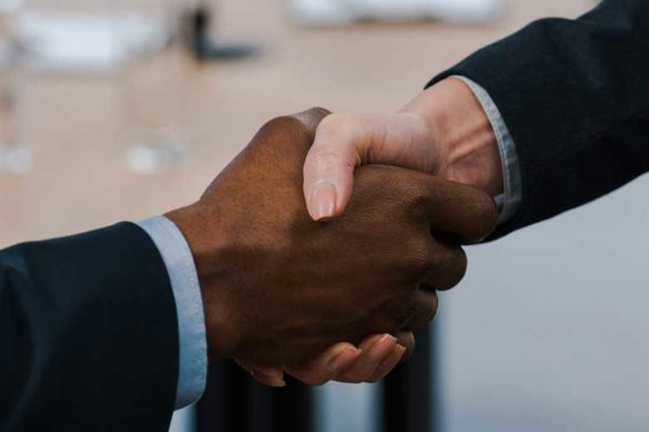 Handshake between two business partners